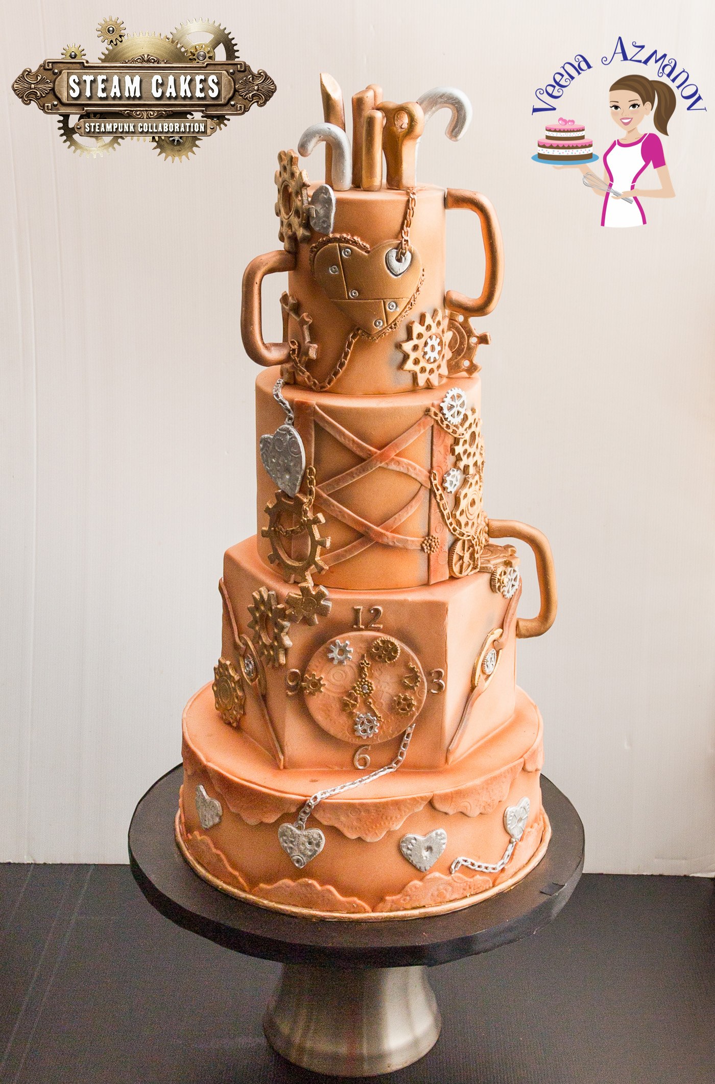 Gauges and gears fondant steampunk cake