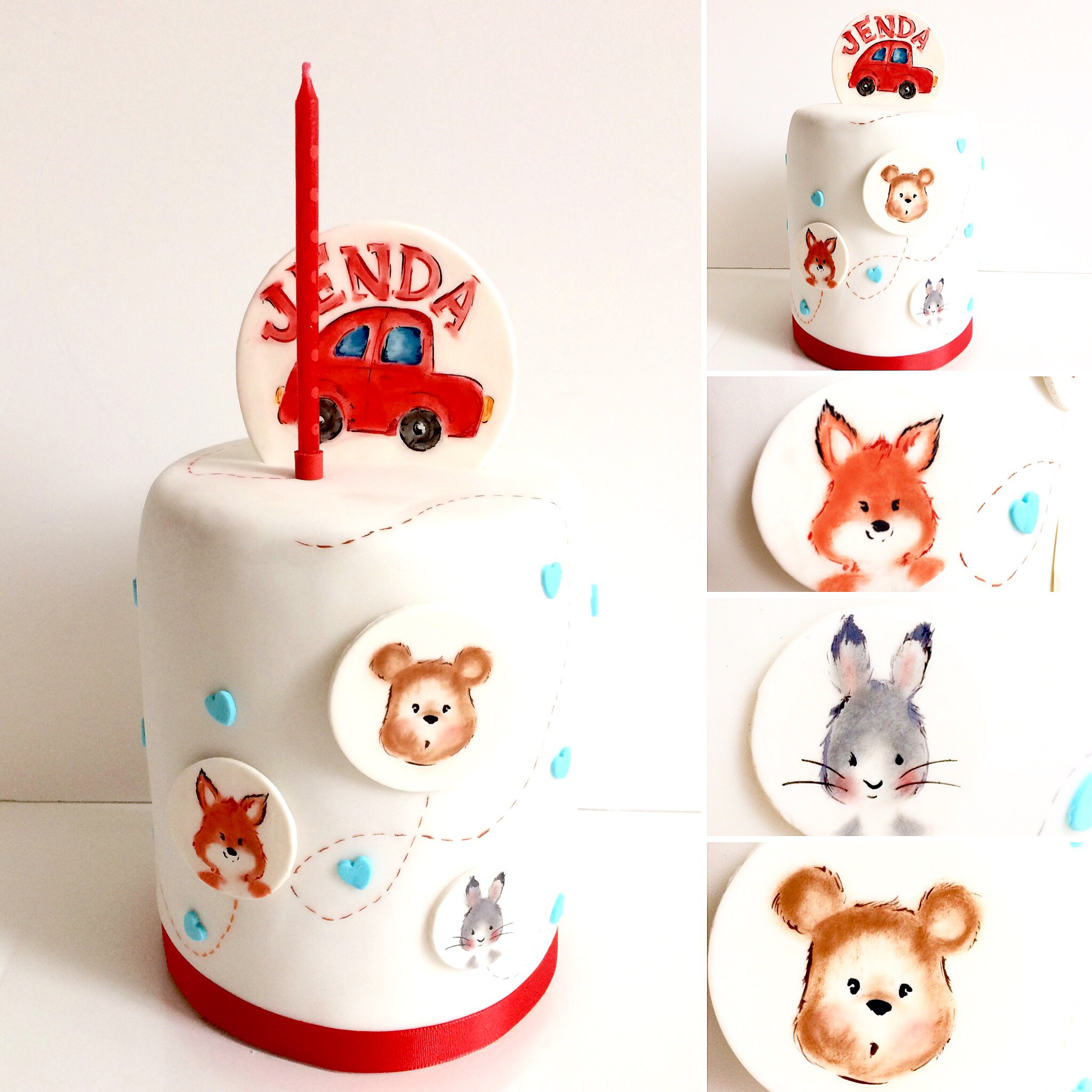 hand painted woodland animal birthday cake