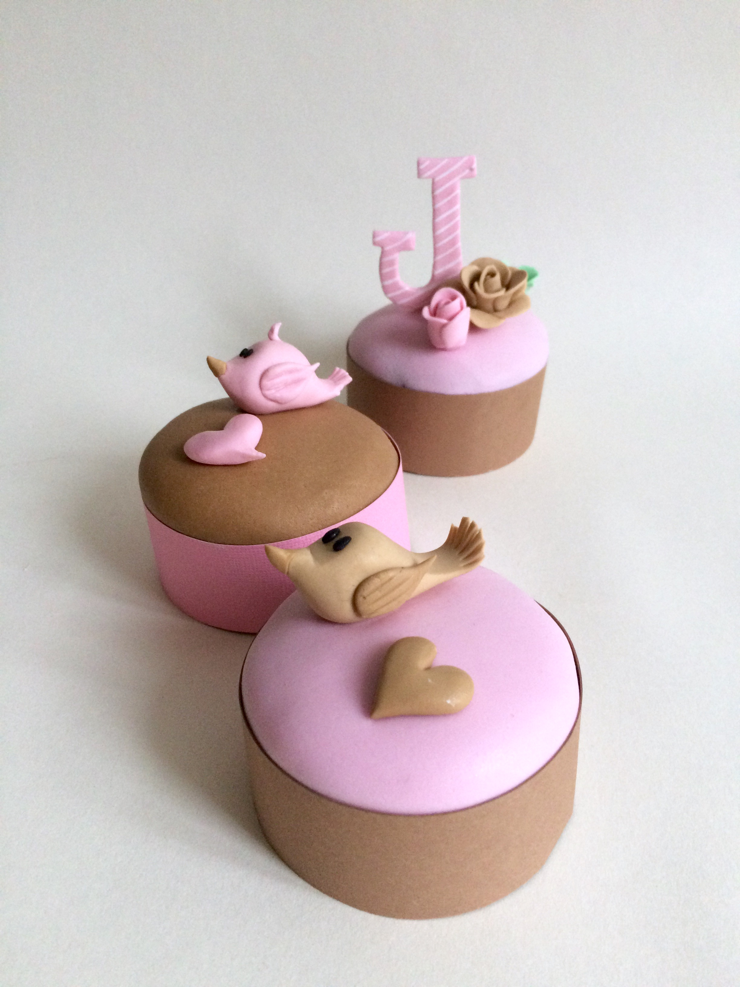 Pink and brown birdie cupcake toppers