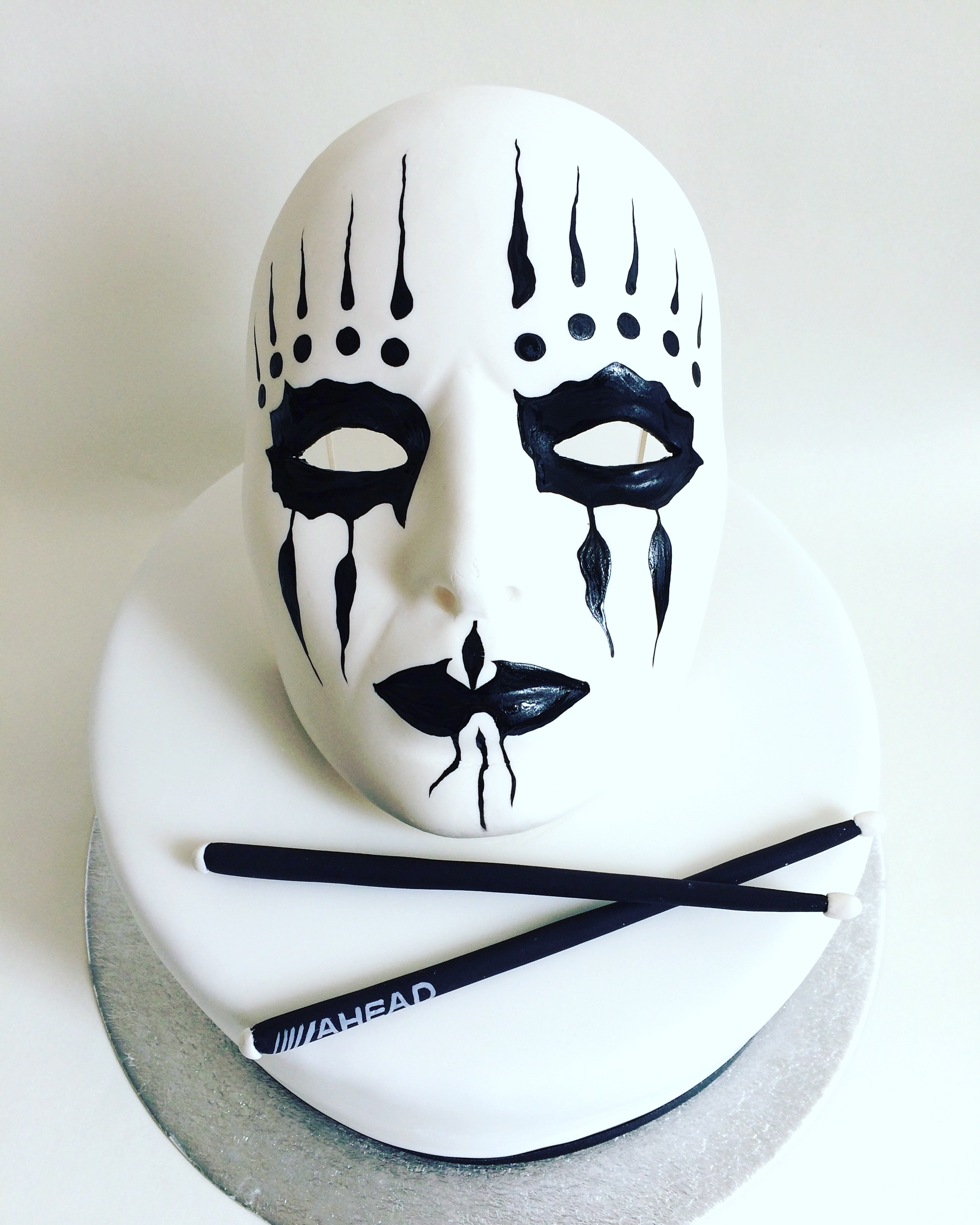 Black and white masquerade mask cake