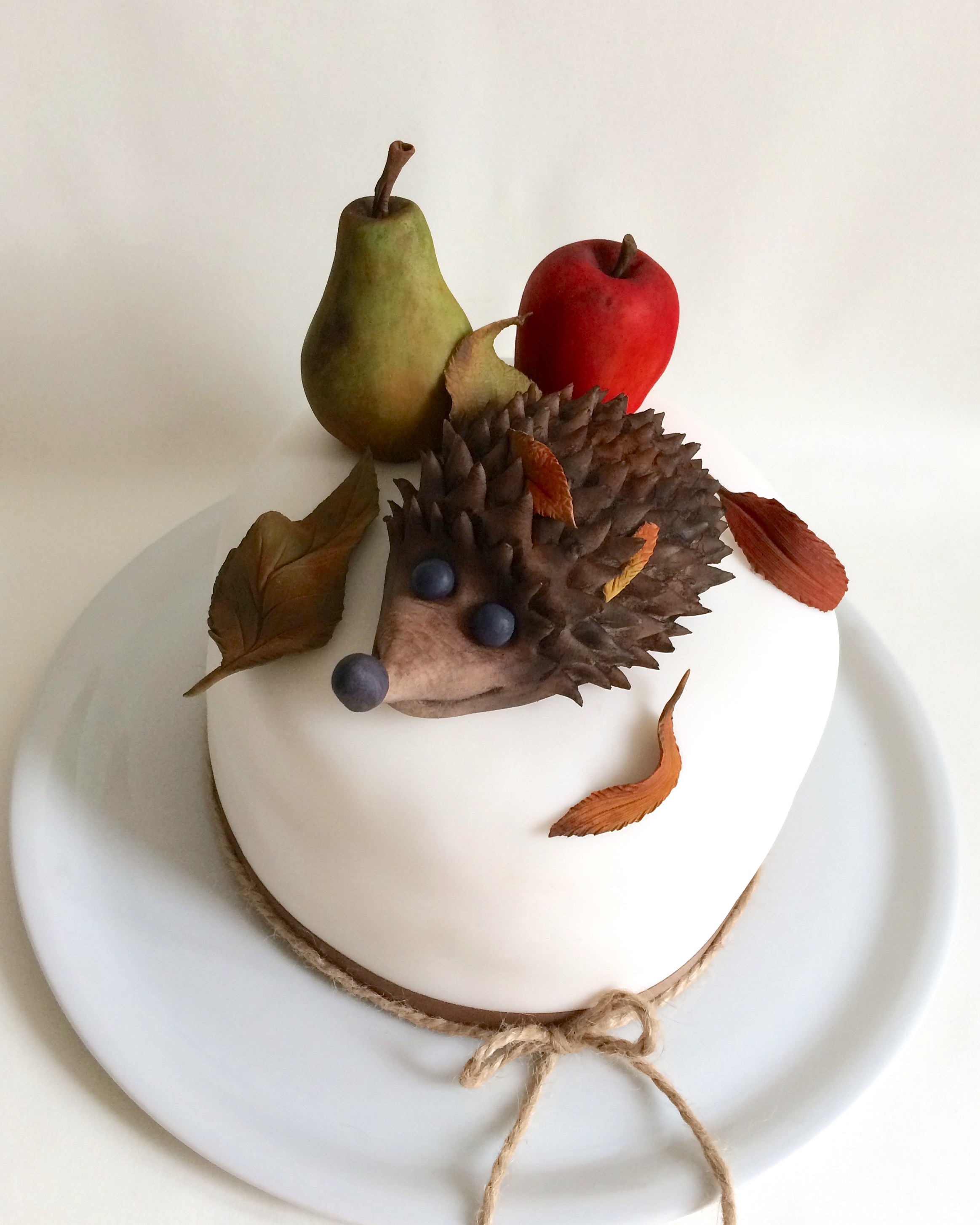 Mini cake with fondant hedgehog