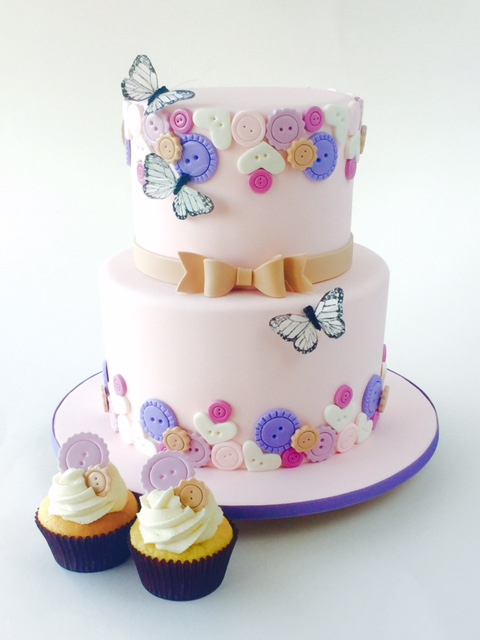 Pink button themed birthday cake