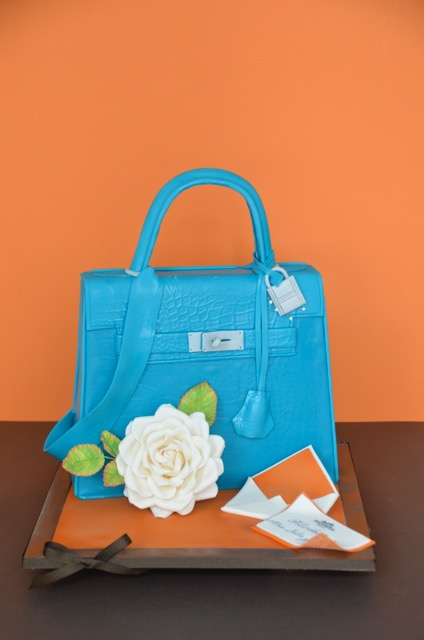 Blue handbag birthday cake