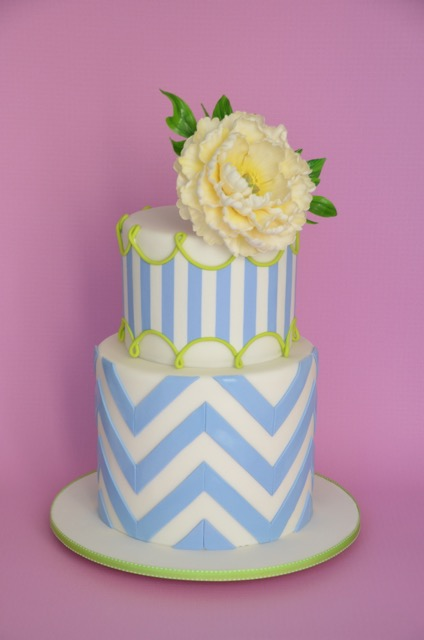 Blue and white chevron wedding