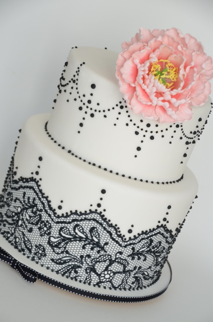 White Cake with black lace