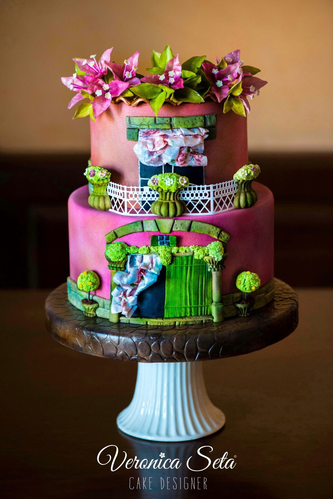 Pink and Green Parisian window wedding cake