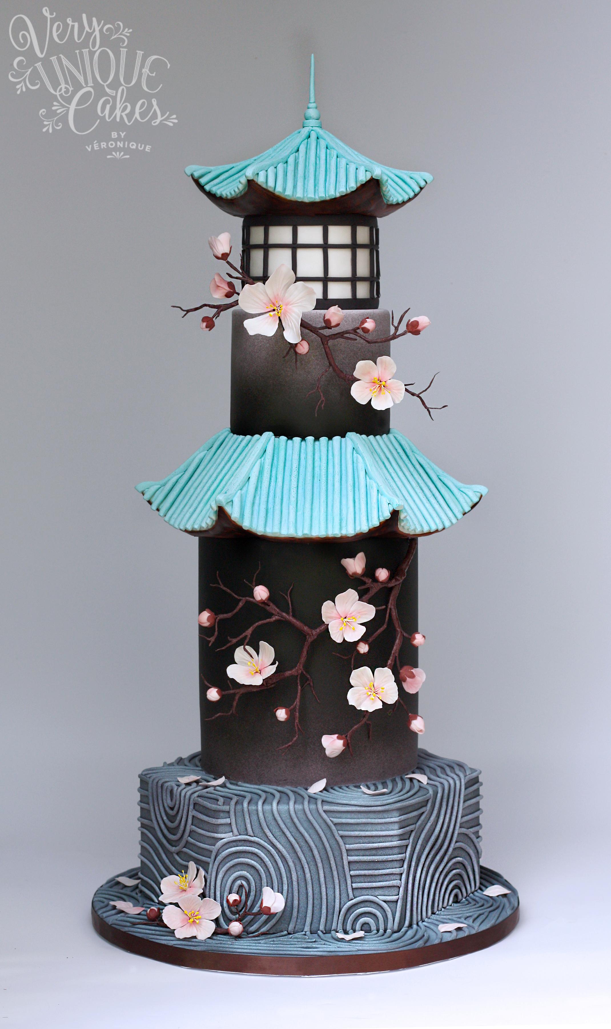 Japanese Sakura Blossom fondant Cake