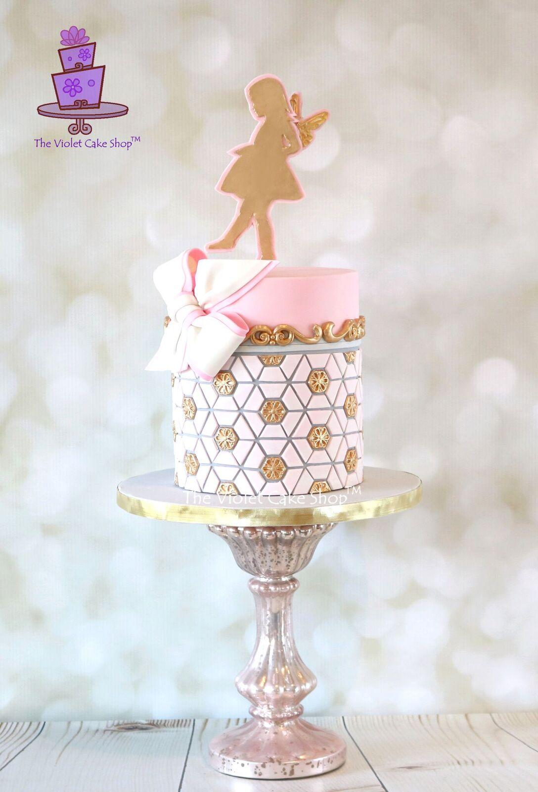 Pink and gold girls fairy birthday