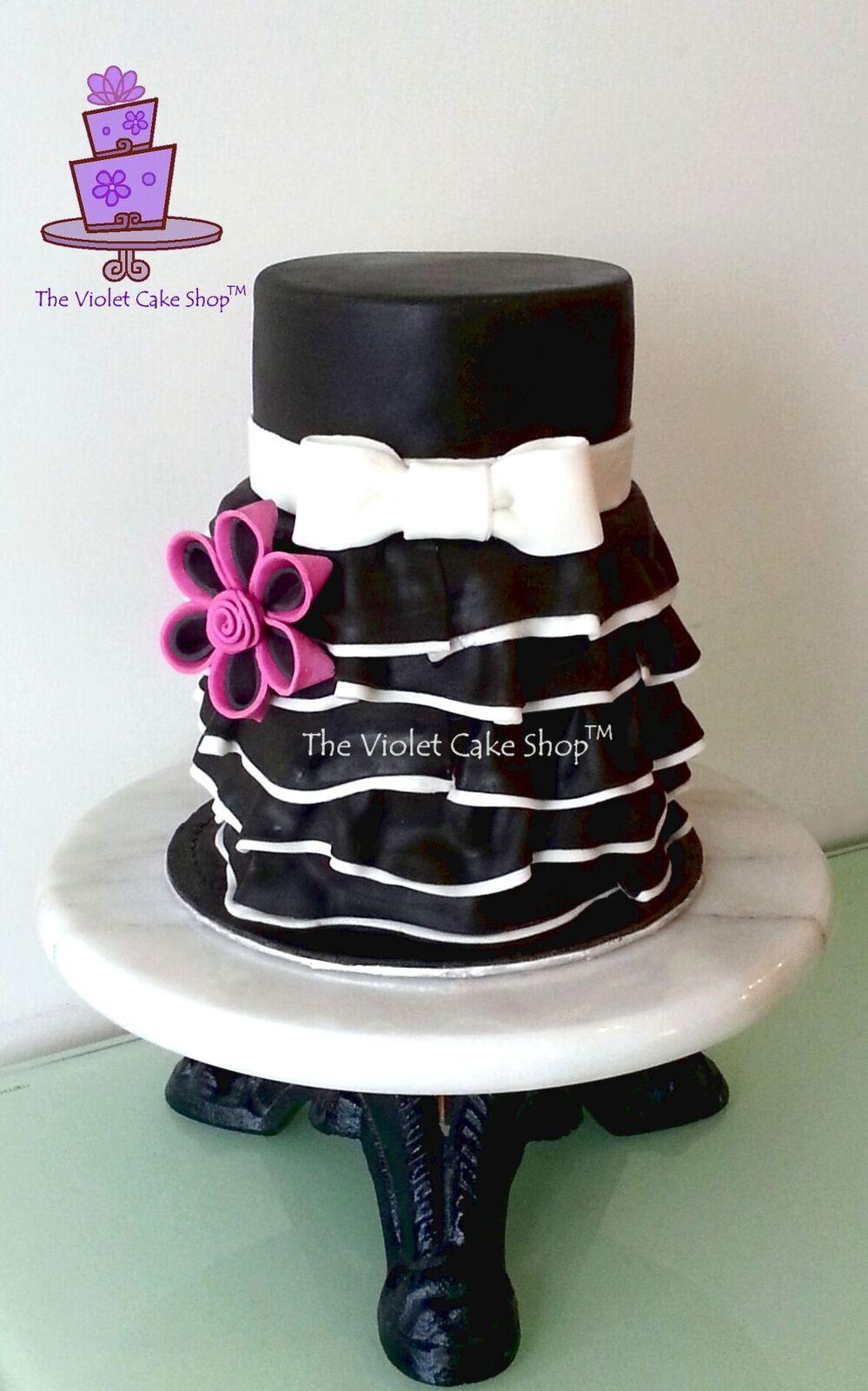 Black and white ruffle birthday