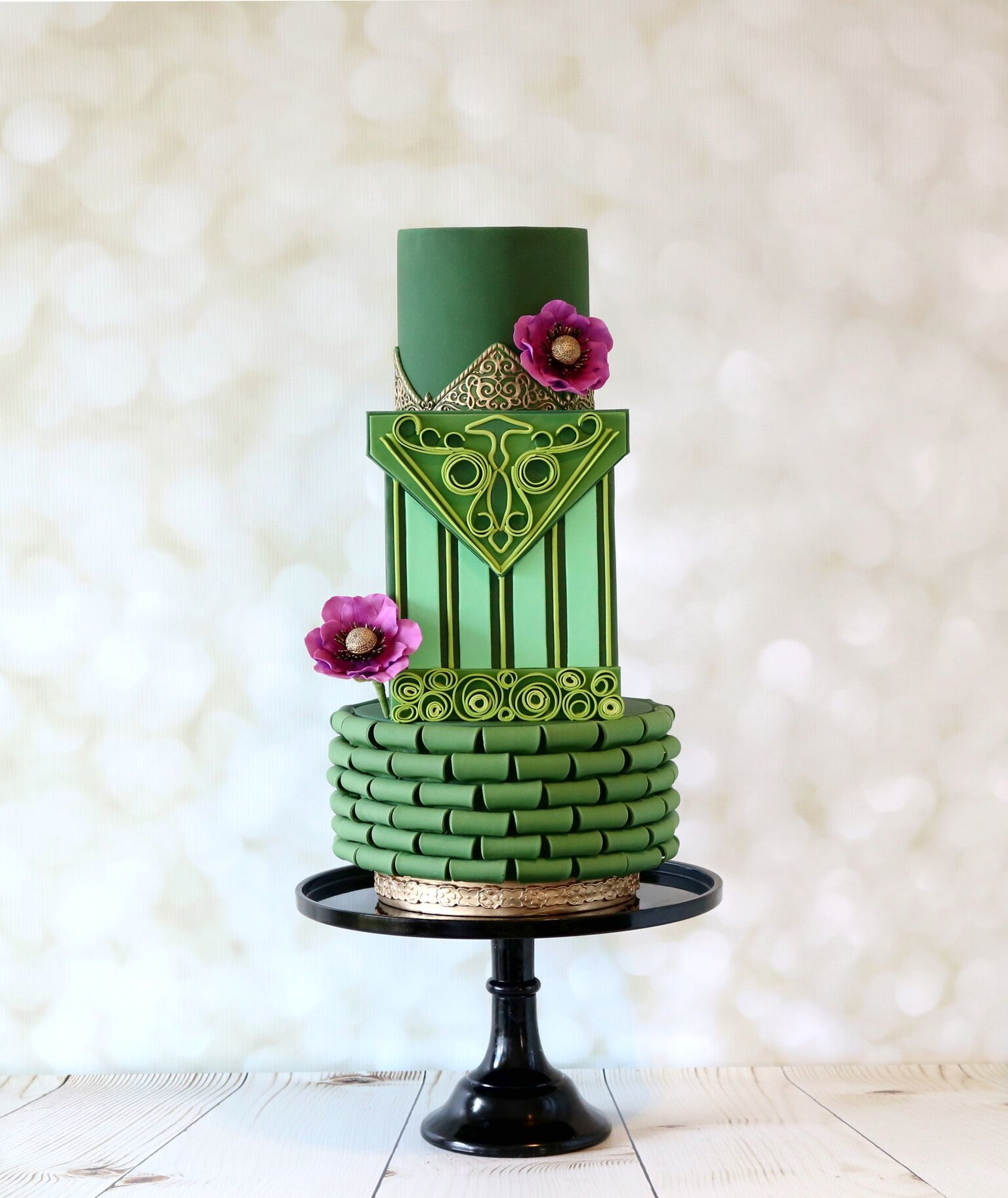 Green on green Wedding cake