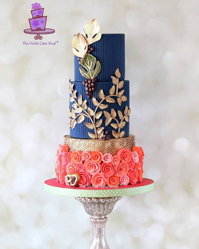 navy blue and coral fondant wedding cake