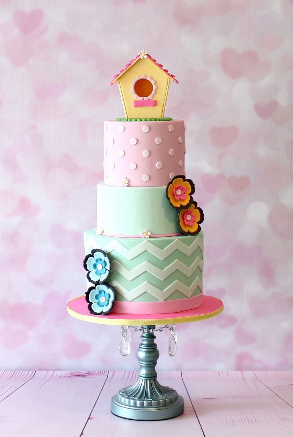 Colorful Birdhouse fondant Cake