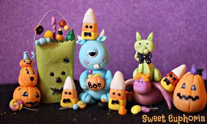 Cute monster and halloween fondant figurines