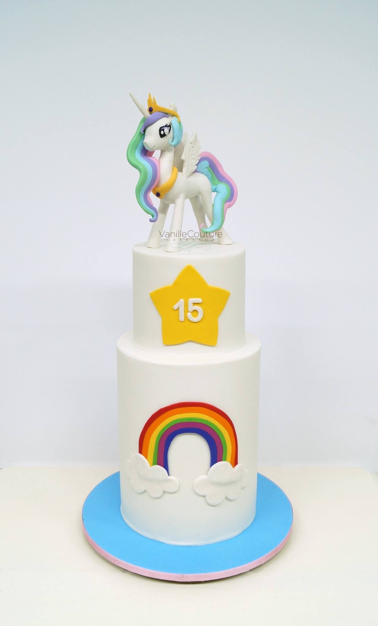 Rainbow unicorn fondant birthday Cake