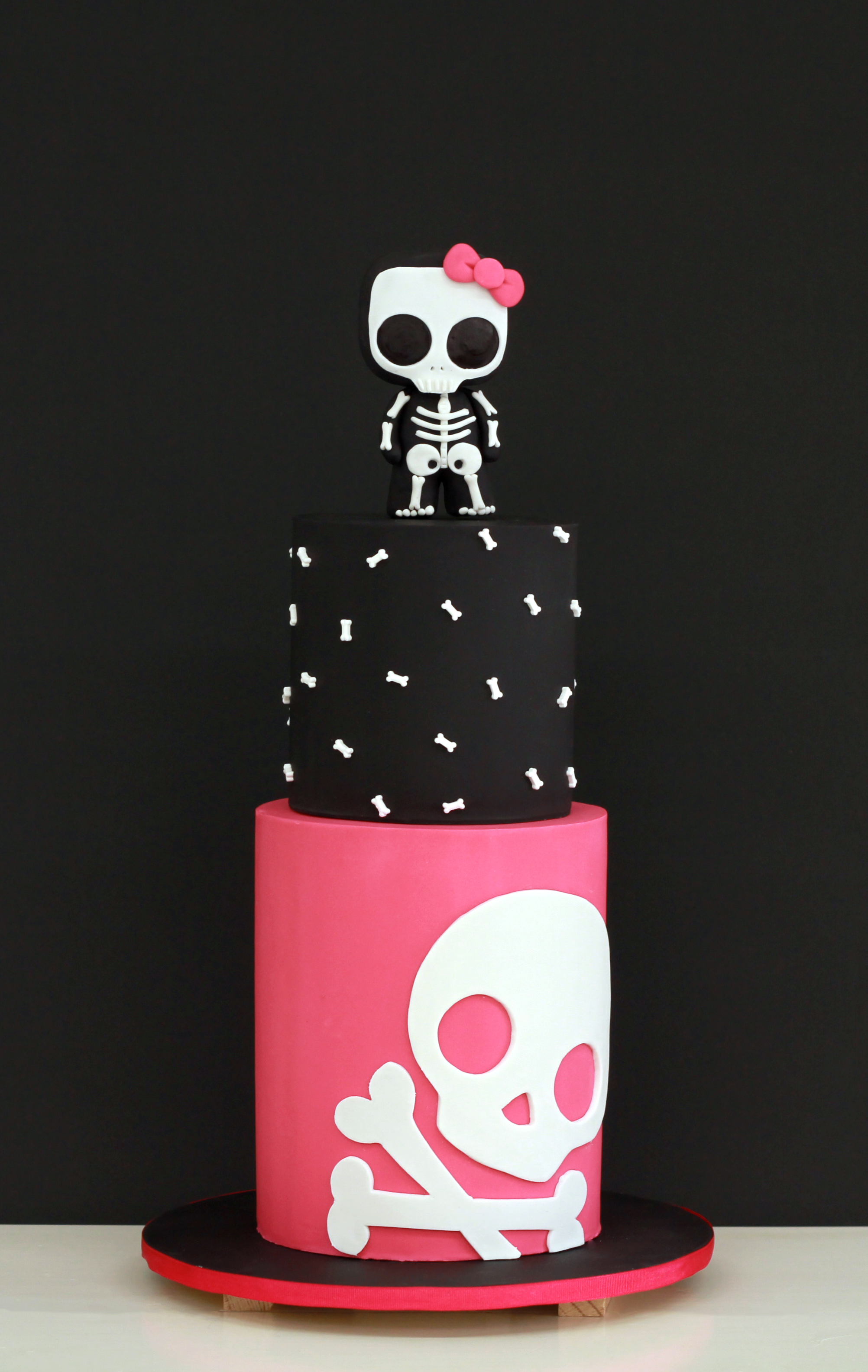 Skull baby girl shower cake