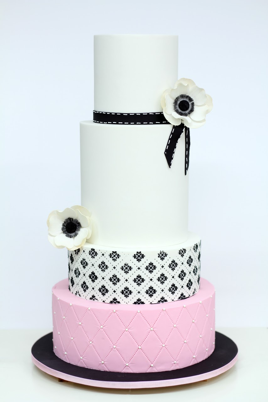 Blush and Black polka dot wedding cake