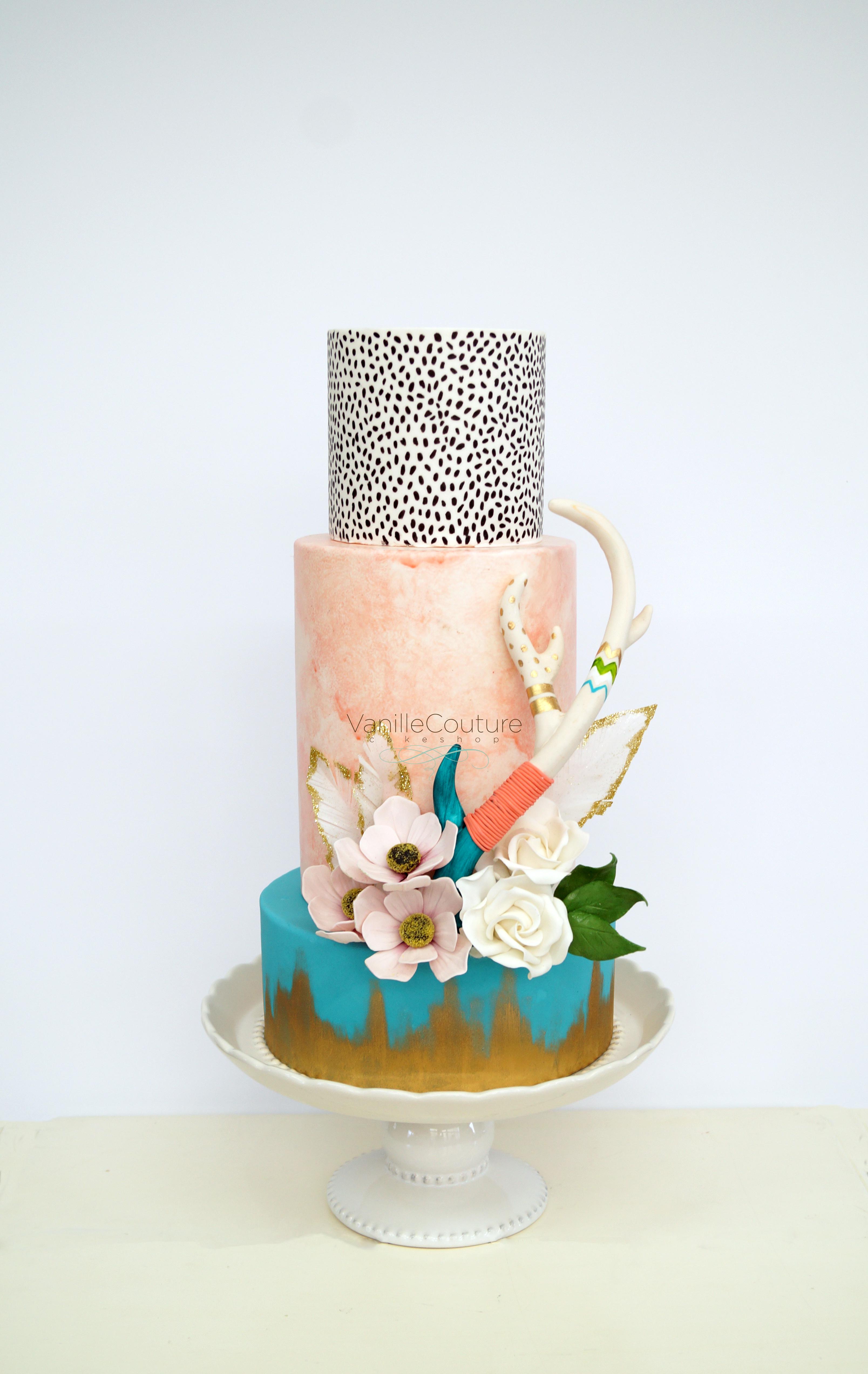 Bohemian fondant Wedding cake