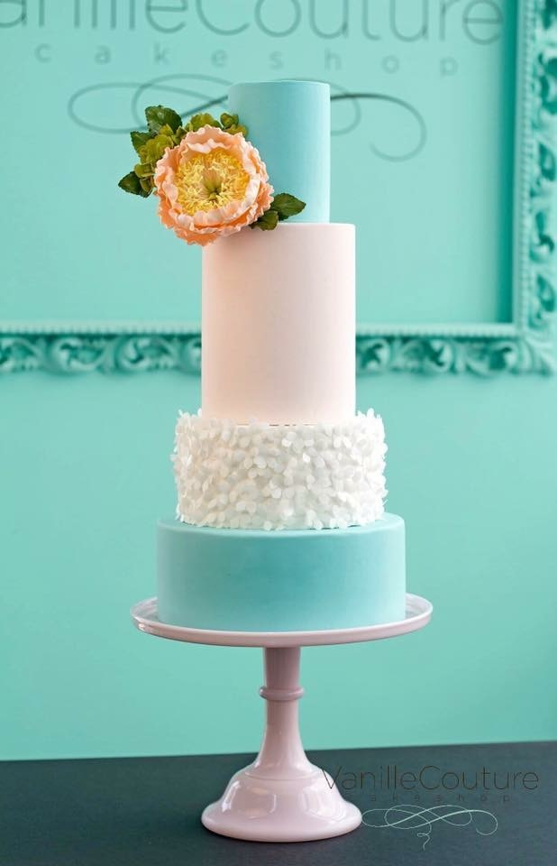 Turquoise and white fondant Ruffle cake