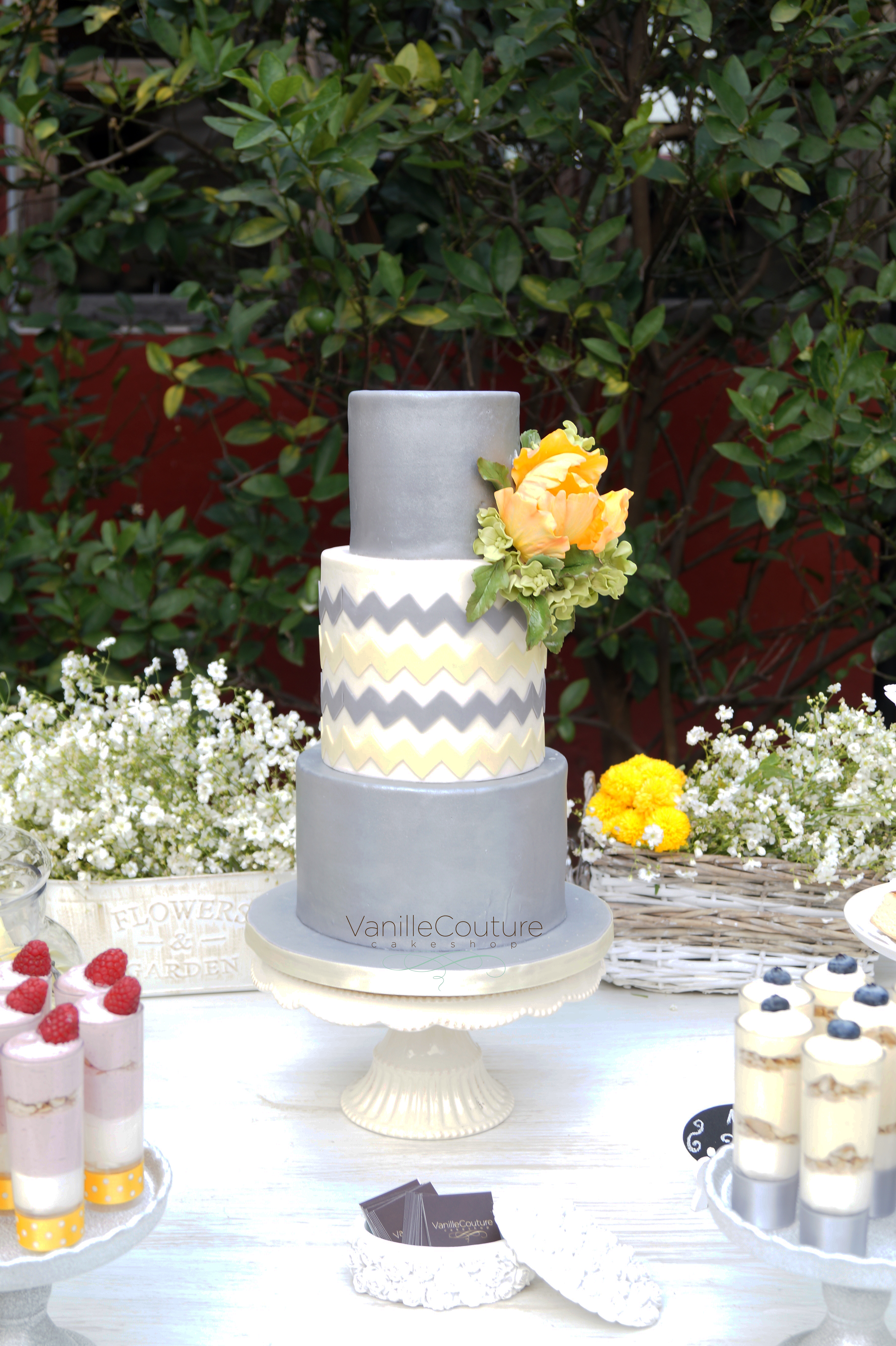 Chevron gray and white fondant Wedding cake
