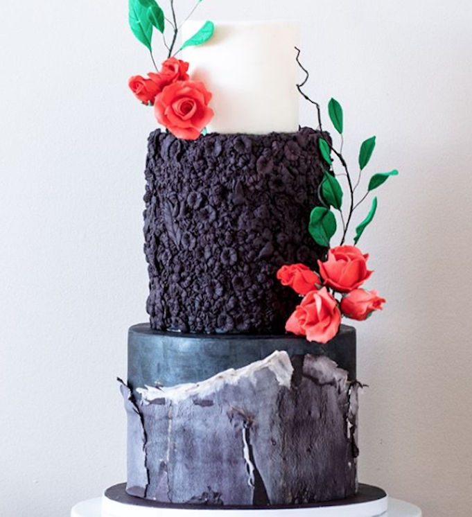 Black and gray fondant wedding cake