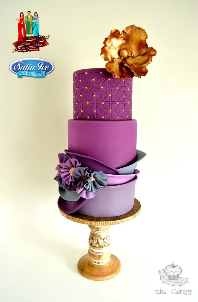 Purple on purple wedding cake