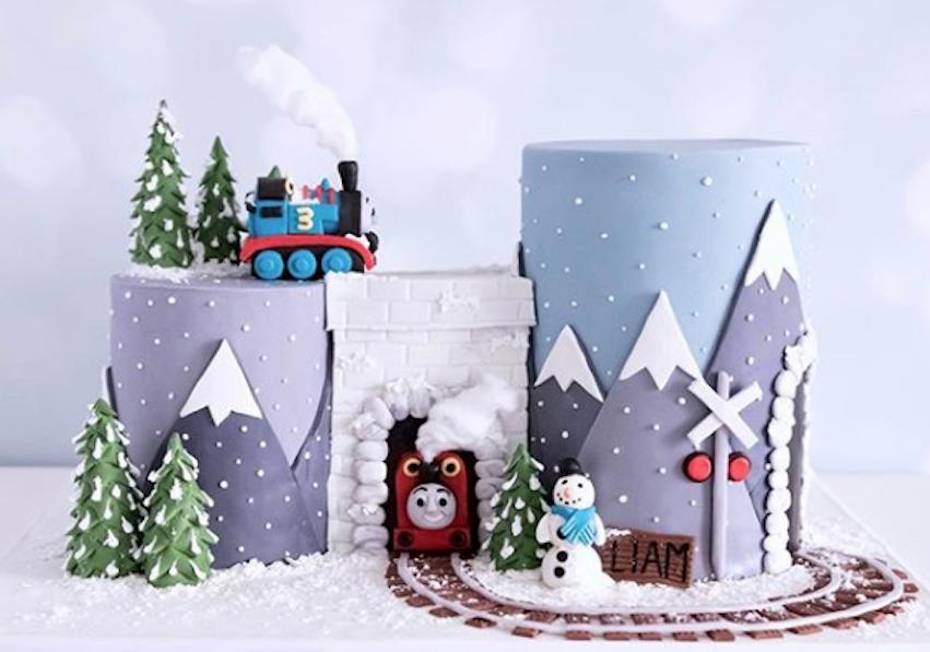 Winter thomas the train fondant cake