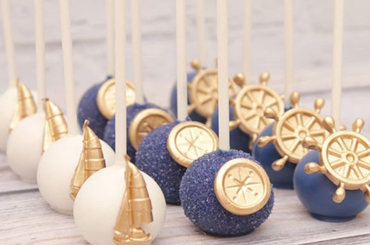 Nautical cake pops decorated with fondant