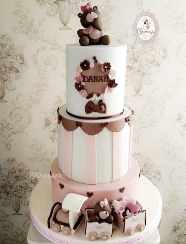 Teddy bear themed birthday girl cake