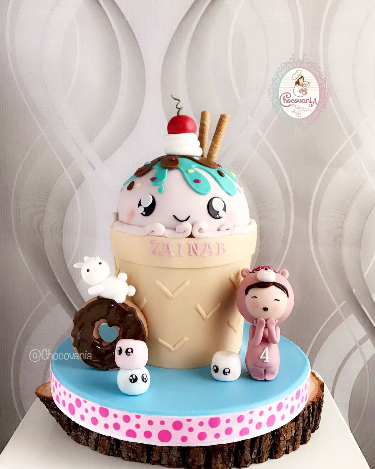 Ice Cream and sweets fondant birthday cake