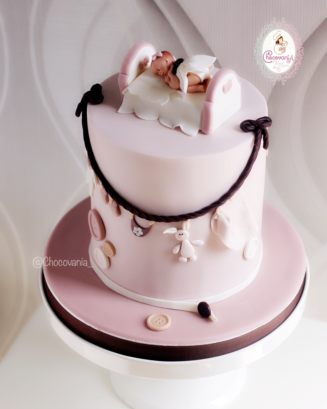 Pink baby girl shower cake