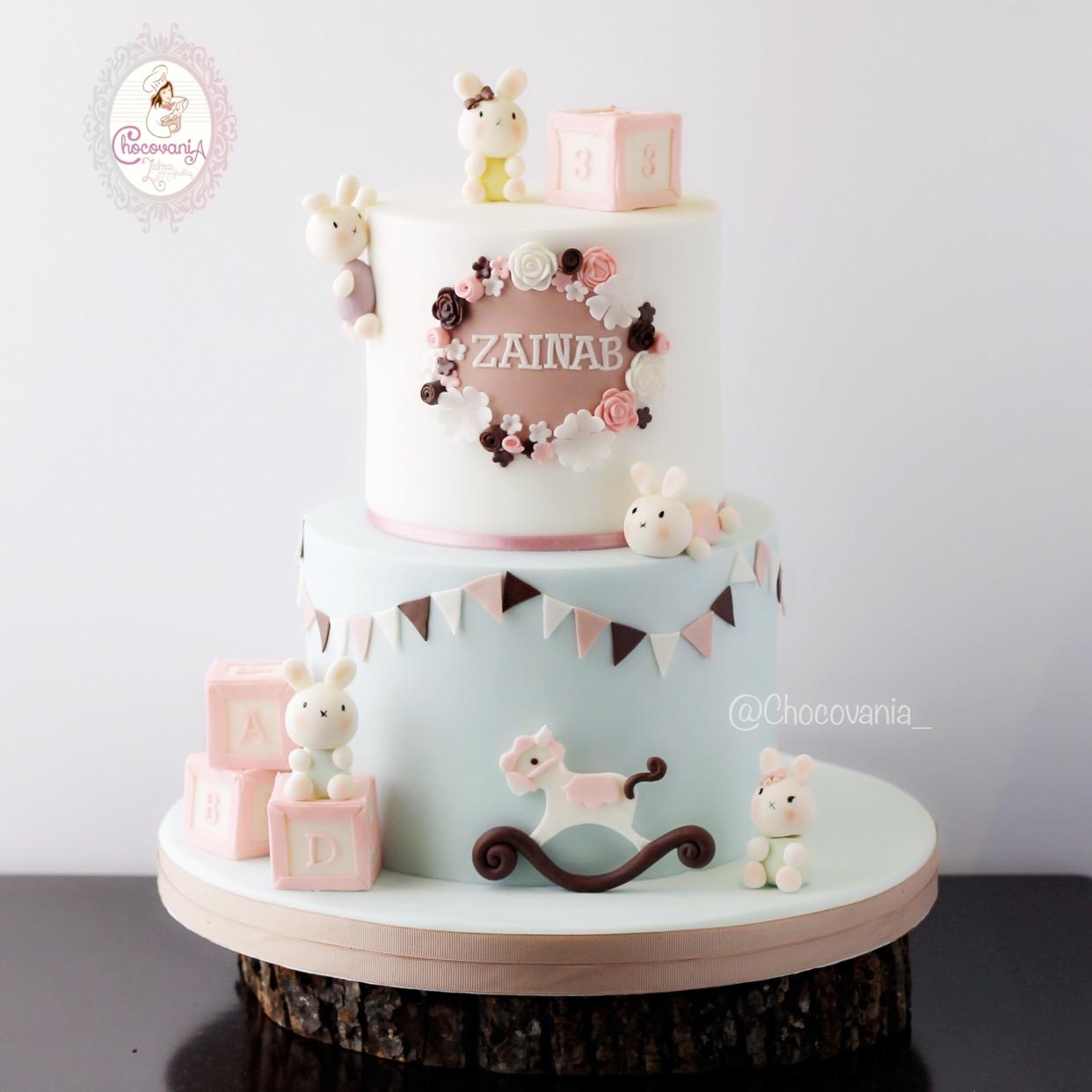 Baby girl fondant bunny cake