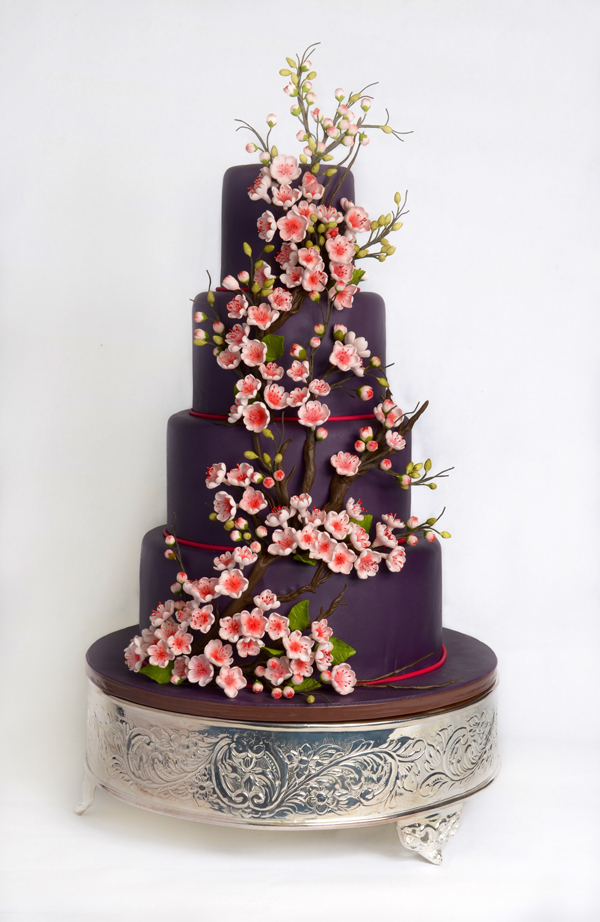 Fondant Cherry Blossom wedding cake