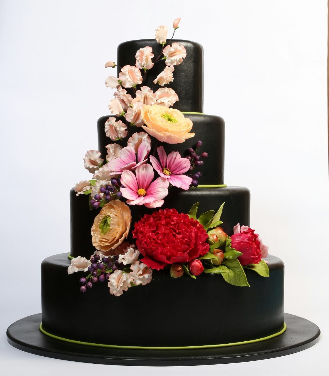 All brown fondant Wedding cake with bright sugar flowers