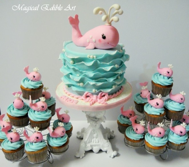 Pink & Blue Whale Baby Cake