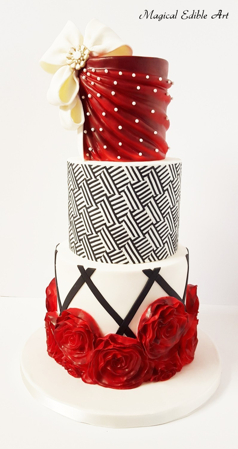 Red and Black fondant Wedding cake