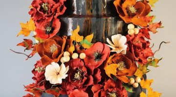 Fall Foliage sugar flower inspired fondant cake