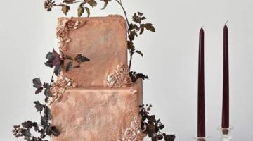 Textured copper fondant wedding cake