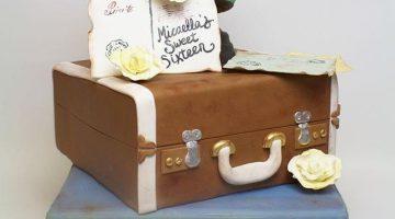 Suitcase and globe traveling birthday cake