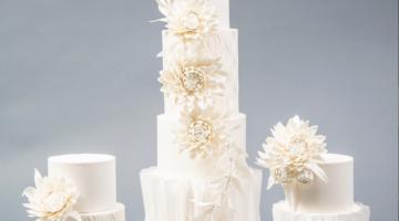 White on white fondant wedding cake