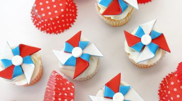 Red white and blue patriotic pinwheel toppers