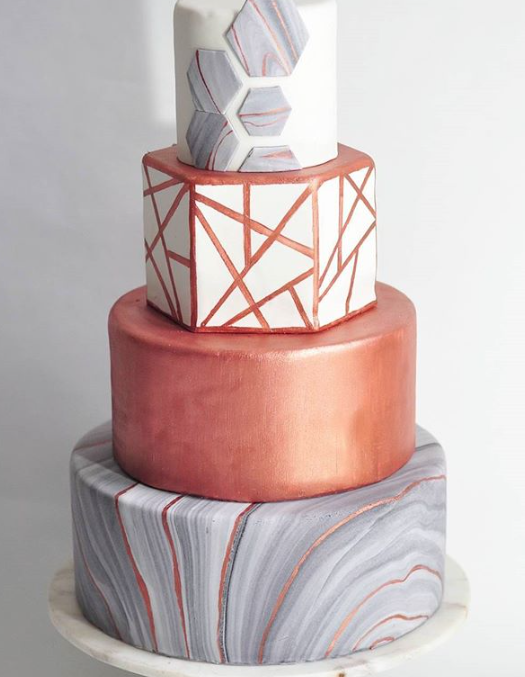 Copper and gray geometric fondant wedding cake