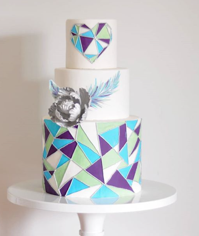 Bright colored fondant geometric wedding cake