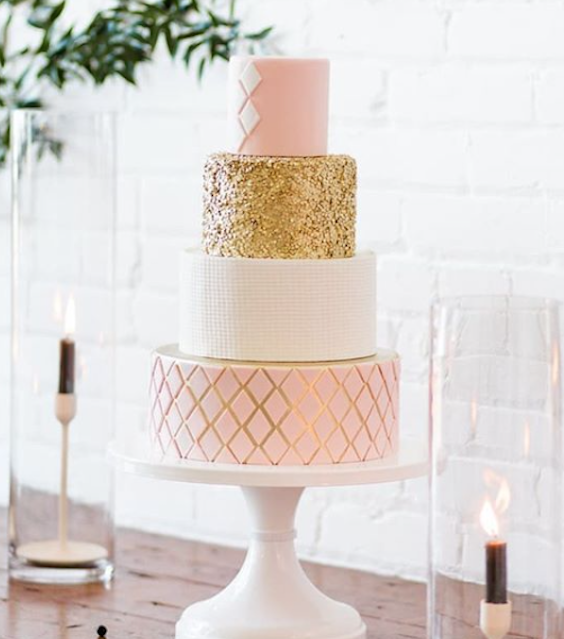 Light pink and gold fondant wedding cake