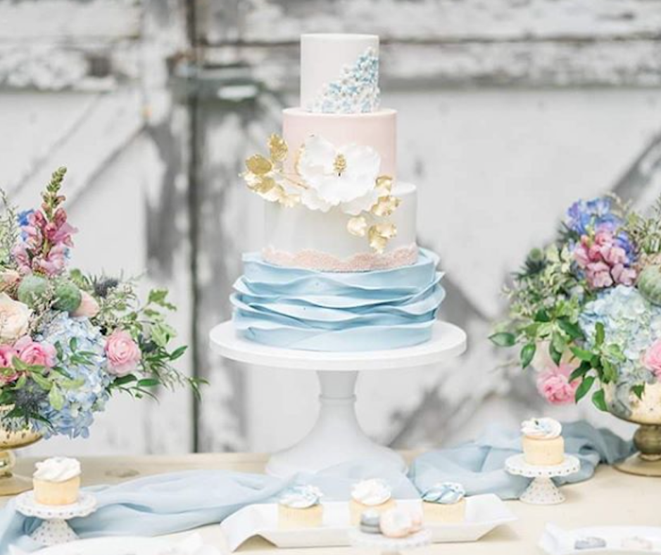 Baby blue and white fondant ruffle wedding cake