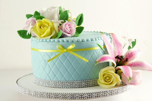 All turquoise fondant wedding cake