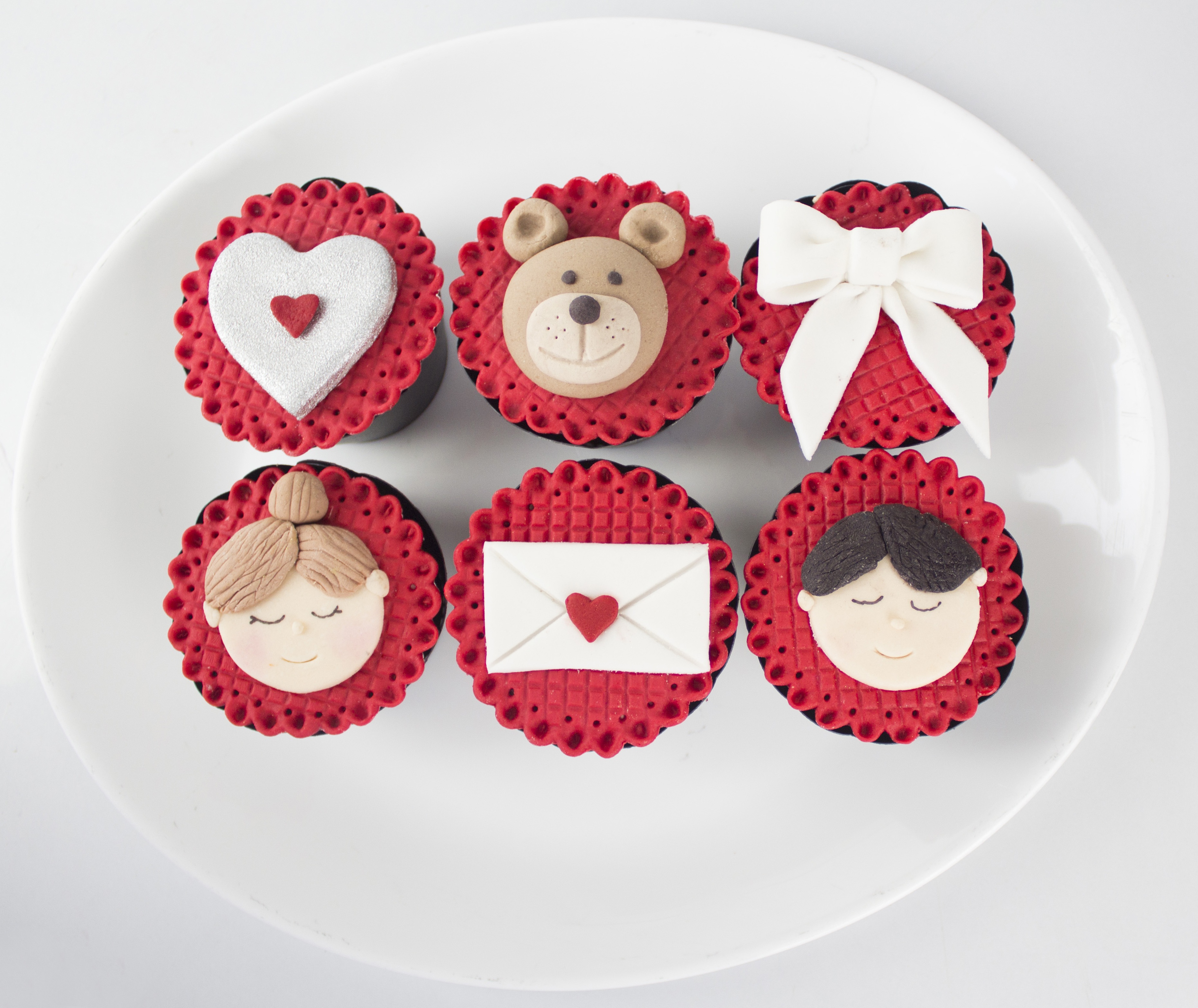 Valentine's Day red and white fondant Cupcake toppers