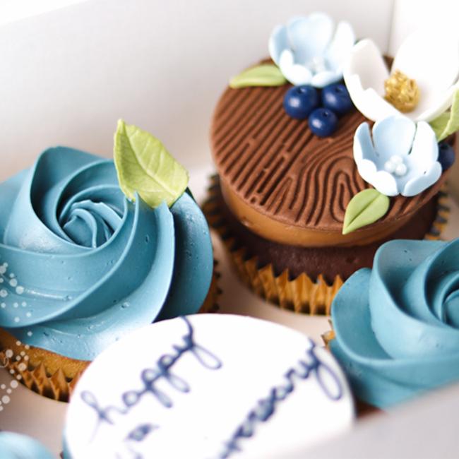 Cp 0020 Blue Floral Anniversary Cupcakes Juniper Cakery 1