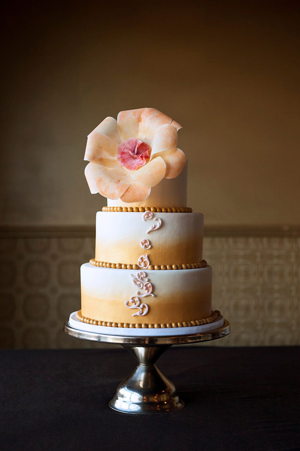 Peach & White fondant Wedding cake