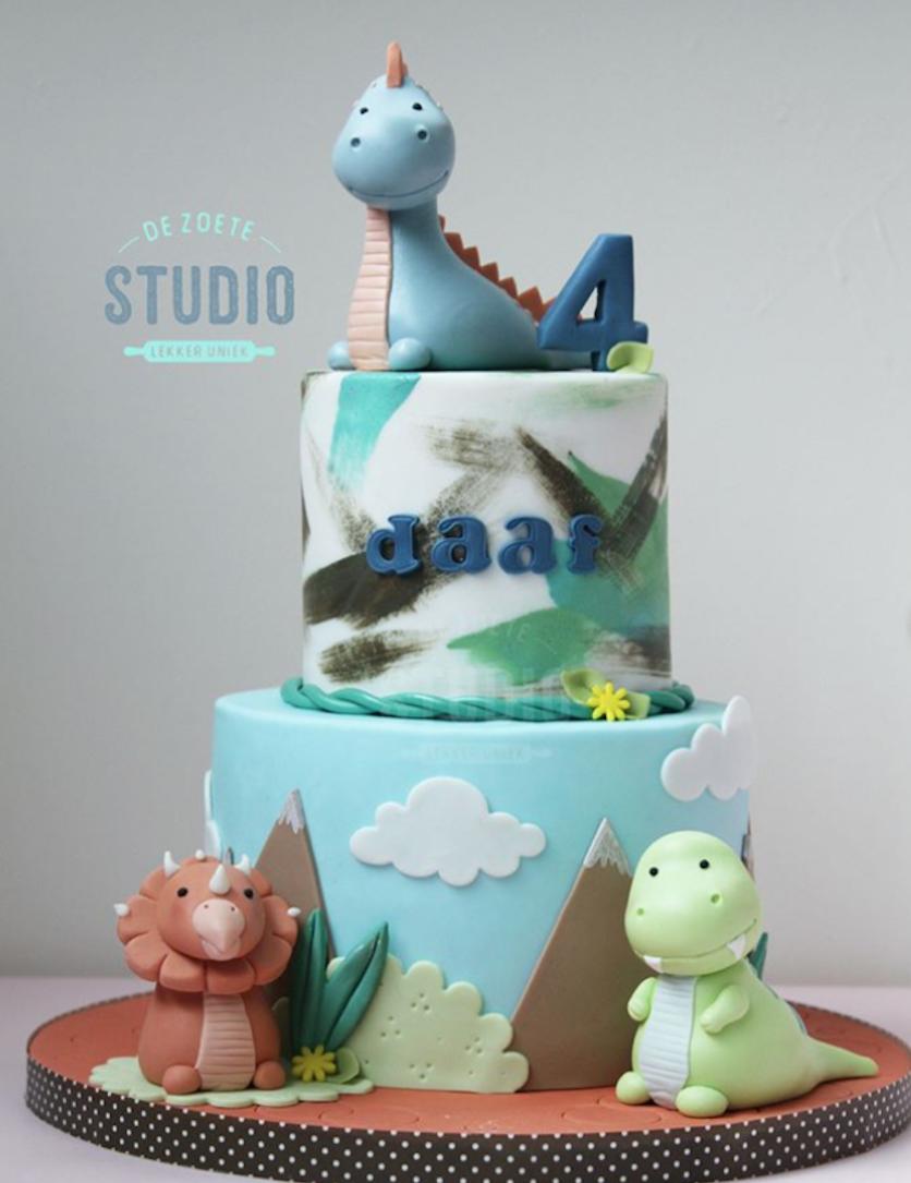 Fondant dinosaur birthday cake