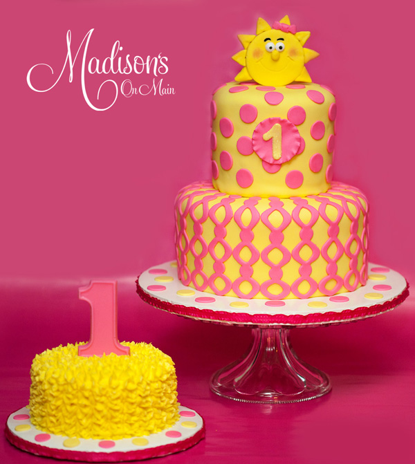Sunshine yellow 1st Birthday fondant cake